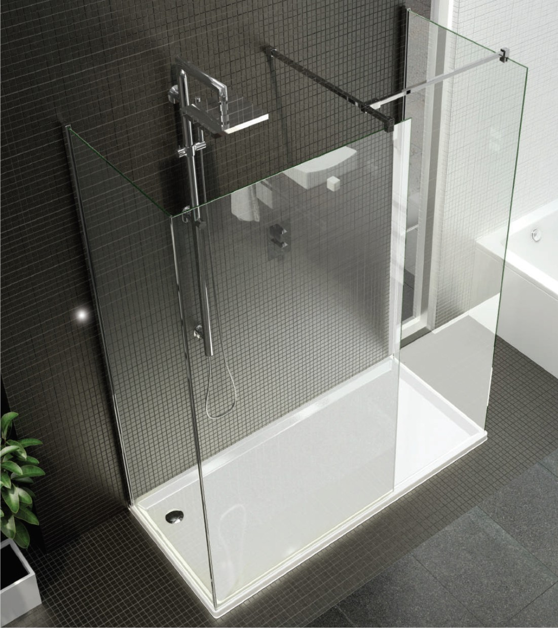 Vision Three Sided Enclosure Frameless Shower Showerline