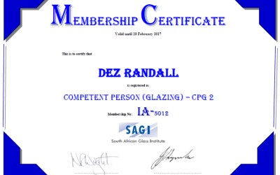 Showerline's Certified COMPETENT PERSON- (GLAZING) – CPG2 ( South African Glass Institute)
