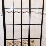 black framed shower cottage pane