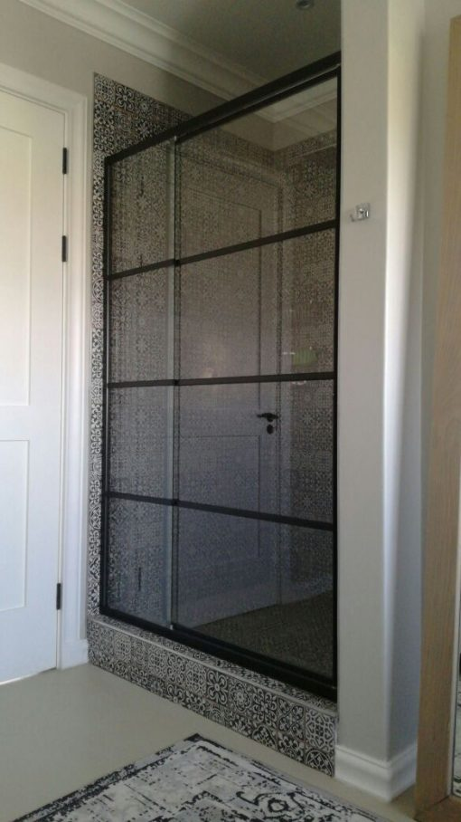 black framed shower