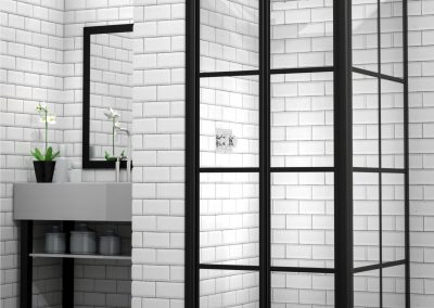 MIRAGE Bifold Door Framed Shower Black Rustic Finish