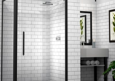 MIRAGE Bislider Door Framed Shower Black Rustic Finish