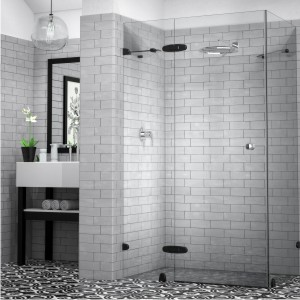 showerline frameless reflection range black hardware