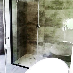Showerline Black semi frameless shower