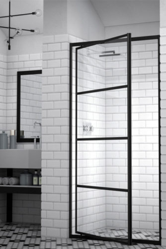 Black steel-framed shower