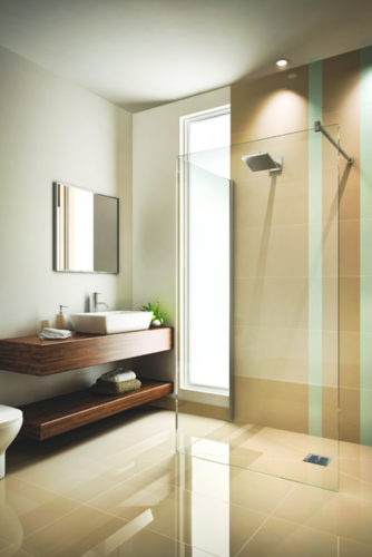 Shower enclosure with large windows