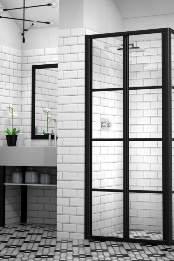 Industrial Touch Amongst Natural Elements | Black-Framed Shower