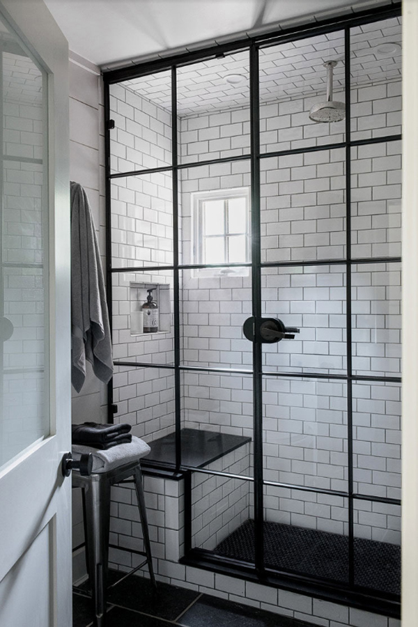Black Frame with Brick Wall | Black-Framed Shower