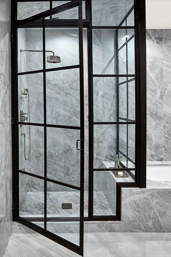Black Frame with Marble | Black-Framed Shower